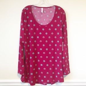 LuLaRoe Lynnae Long Sleeve Polka Dot Top NWT